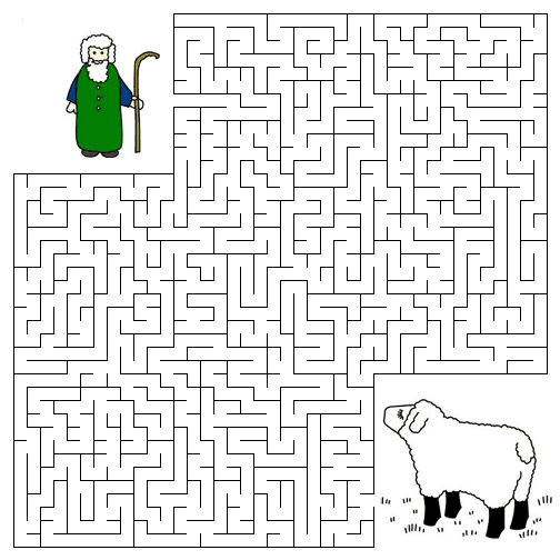 The Lost Sheep Maze Colouring Pages